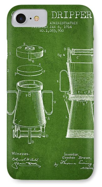 1914 Coffee Dripper Patent - Green IPhone Case by Aged Pixel