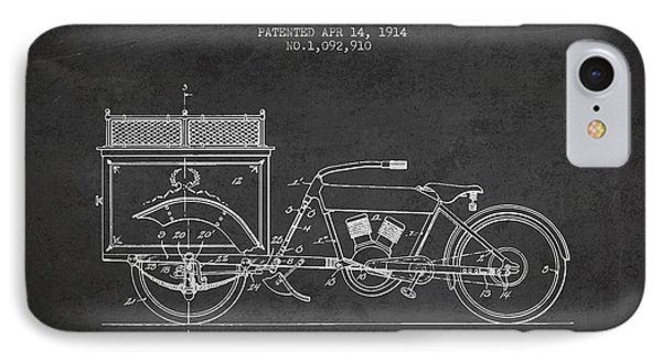 1914 Three Wheel Truck Patent - Charcoal IPhone Case by Aged Pixel