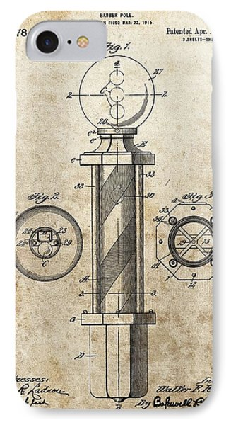 1916 Barber Pole Patent IPhone Case by Dan Sproul