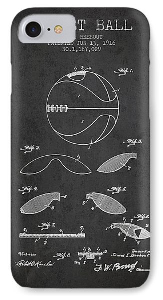 1916 Basket Ball Patent - Charcoal IPhone Case