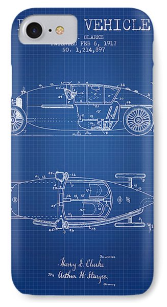 1917 Racing Vehicle Patent - Blueprint IPhone Case by Aged Pixel
