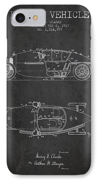 1917 Racing Vehicle Patent - Charcoal IPhone Case by Aged Pixel
