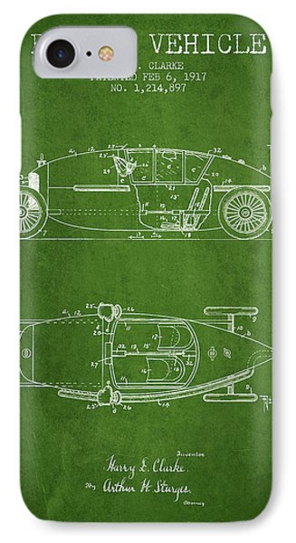 1917 Racing Vehicle Patent - Green IPhone Case by Aged Pixel