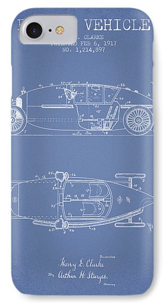 1917 Racing Vehicle Patent - Light Blue IPhone Case by Aged Pixel