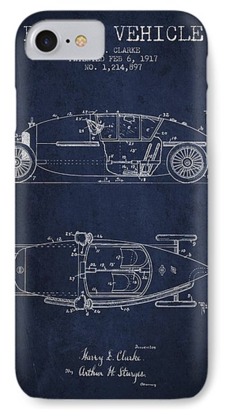 1917 Racing Vehicle Patent - Navy Blue IPhone Case by Aged Pixel