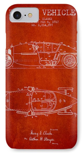 1917 Racing Vehicle Patent - Red IPhone Case by Aged Pixel