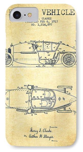 1917 Racing Vehicle Patent - Vintage IPhone Case by Aged Pixel