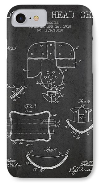1918 Football Head Gear Patent - Charcoal IPhone Case by Aged Pixel