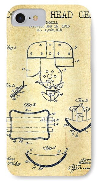 1918 Football Head Gear Patent - Vintage IPhone Case by Aged Pixel