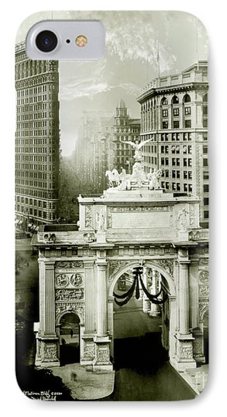 1919 Flatiron Building With The Victory Arch IPhone Case by Jon Neidert