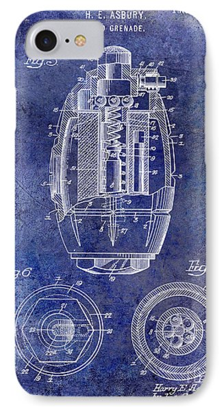 1919 Hand Grenade Patent Blue IPhone Case by Jon Neidert