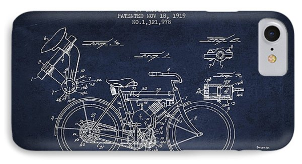 1919 Motorcycle Patent - Navy Blue IPhone Case by Aged Pixel