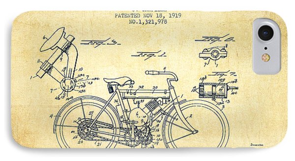 1919 Motorcycle Patent - Vintage IPhone Case by Aged Pixel