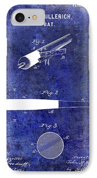 1920 Baseball Bat Patent Blue IPhone Case by Jon Neidert