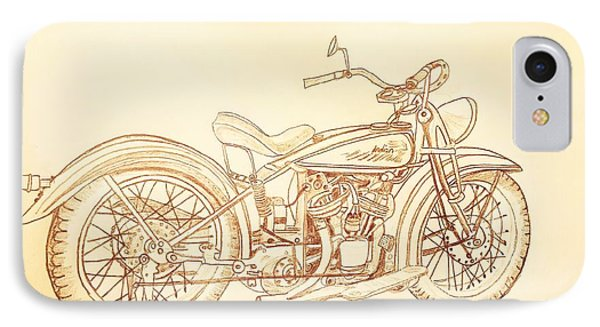 1920 Indian Motorcycle Graphite Pencil - Sepia IPhone Case by Scott D Van Osdol