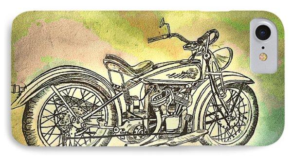 1920 Indian Motorcycle Graphite Pencil - Watercolor IPhone Case by Scott D Van Osdol