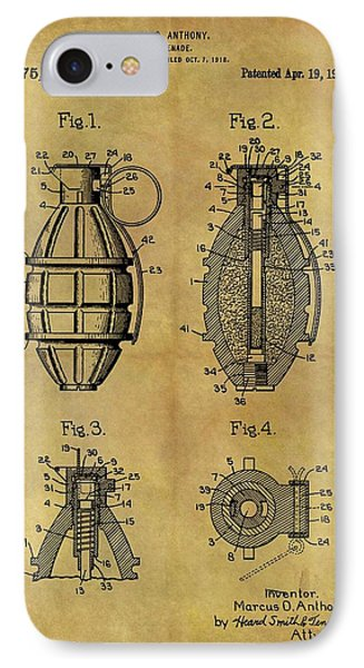 1921 Grenade Patent IPhone Case by Dan Sproul
