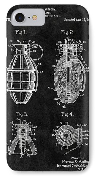 1921 Hand Grenade Patent Illustration IPhone Case by Dan Sproul