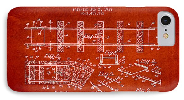 1923 Toy Railway Patent - Red IPhone Case