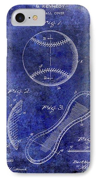 1924 Baseball Patent Blue IPhone Case by Jon Neidert