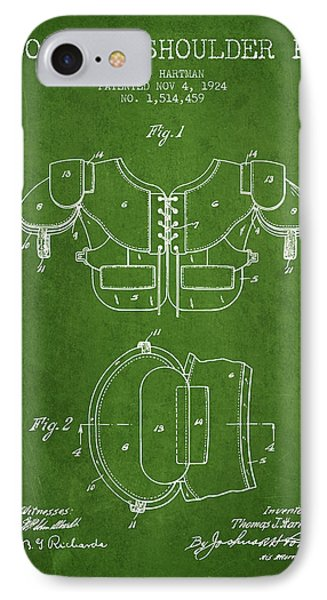 1924 Football Shoulder Pad Patent - Green IPhone Case by Aged Pixel