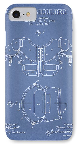 1924 Football Shoulder Pad Patent - Light Blue IPhone Case by Aged Pixel