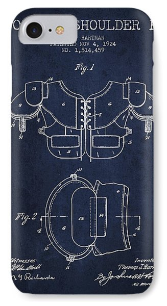 1924 Football Shoulder Pad Patent - Navy Blue IPhone Case by Aged Pixel