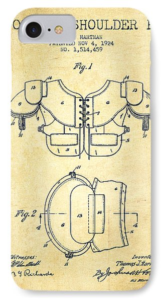 1924 Football Shoulder Pad Patent - Vintage IPhone Case by Aged Pixel