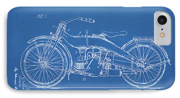 IPhone Case featuring the digital art 1924 Harley Motorcycle Patent Artwork Blueprint by Nikki Marie Smith