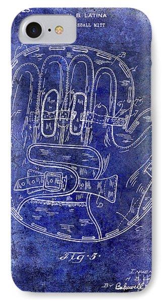 1925 Baseball Glove Patent Blue IPhone Case by Jon Neidert