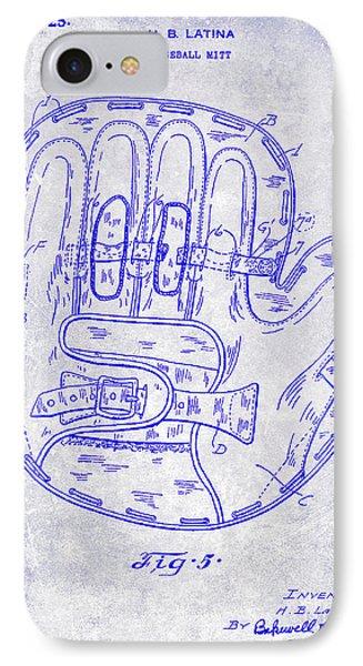 1925 Baseball Glove Patent Blueprint IPhone Case by Jon Neidert