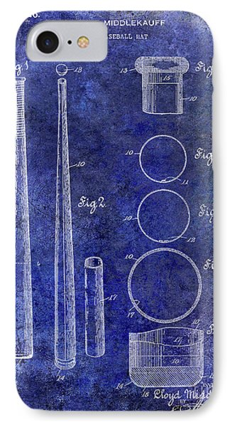 1926 Baseball Bat Patent Blue IPhone Case by Jon Neidert