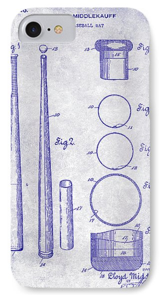 1926 Baseball Bat Patent Blueprint IPhone Case by Jon Neidert