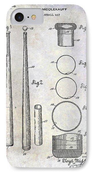 1926 Baseball Bat Patent IPhone Case by Jon Neidert