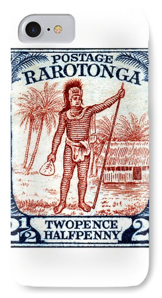 IPhone Case featuring the painting 1927 Cook Island Rarotongan Chief Stamp by Historic Image