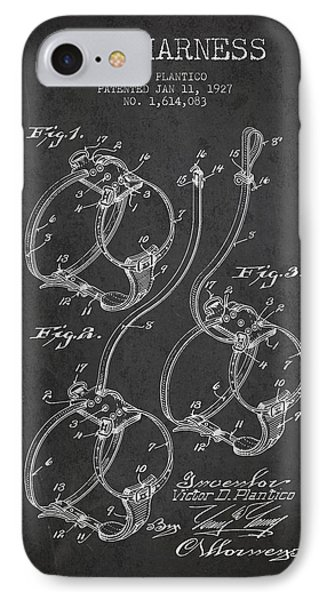 1927 Dog Harness Patent - Charcoal IPhone Case
