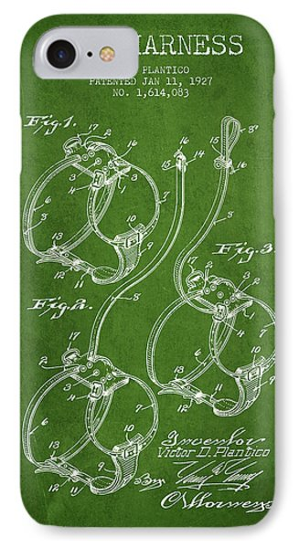 1927 Dog Harness Patent - Green IPhone Case