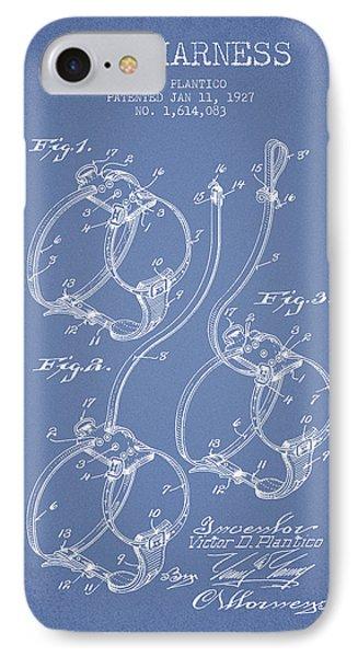 1927 Dog Harness Patent - Light Blue IPhone Case