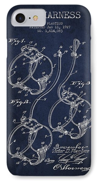 1927 Dog Harness Patent - Navy Blue IPhone Case
