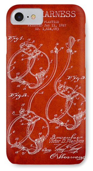 1927 Dog Harness Patent - Red IPhone Case