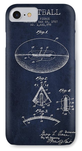 1927 Football Patent - Navy Blue IPhone Case by Aged Pixel