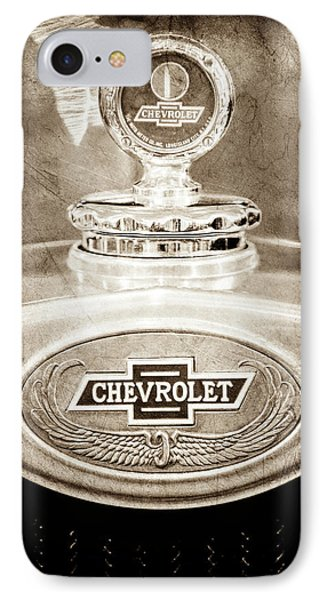 IPhone Case featuring the photograph 1928 Chevrolet 2 Door Coupe Hood Ornament Moto Meter -0789s by Jill Reger