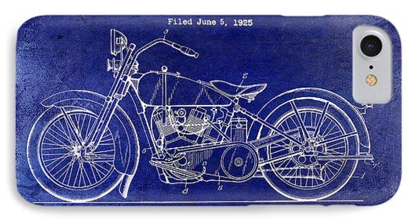 1928 Harley Davidson Patent Drawing Blue IPhone Case by Jon Neidert