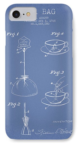 1928 Tea Bag Patent - Light Blue IPhone Case by Aged Pixel