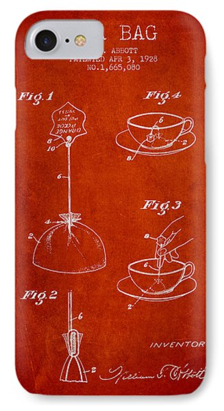 1928 Tea Bag Patent - Red IPhone Case by Aged Pixel