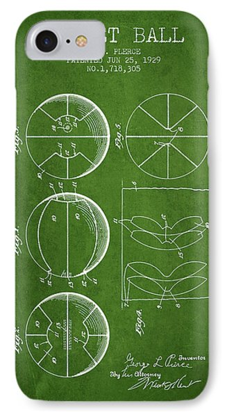 1929 Basket Ball Patent - Green IPhone Case