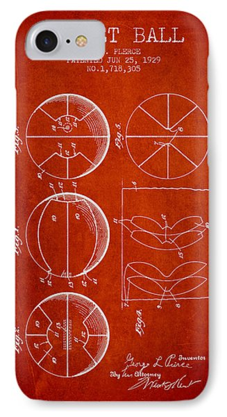1929 Basket Ball Patent - Red IPhone Case