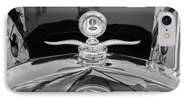 IPhone Case featuring the photograph 1929 Ford Model A Hood Ornament Bw by Rich Franco