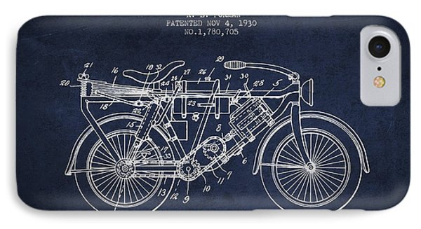 1930 Air Propelled Motorcycle Patent - Navy Blue IPhone Case by Aged Pixel