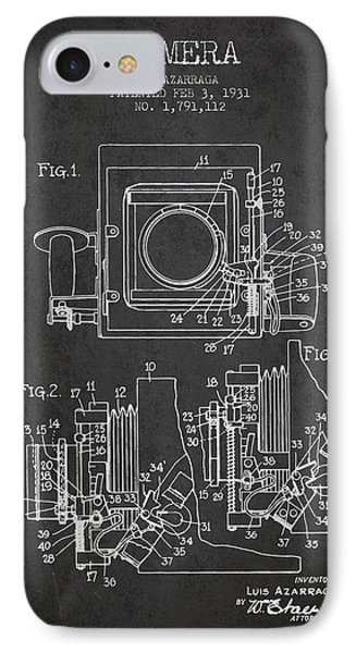 1931 Camera Patent - Charcoal IPhone Case by Aged Pixel